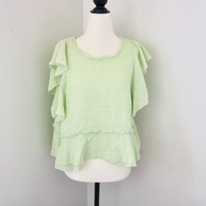Maeve Anthropologie Green Linen Blouse Size M